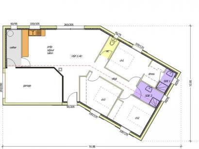 Plan de maison Avant-Projet LES SORINIÈRES - 85 m² - 3 chambres 3 chambres  : Photo 1