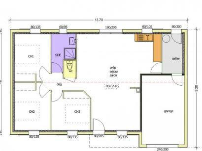 Plan de maison Avant-Projet AIZENAY  81 m² - 3 chambres 3 chambres  : Photo 1
