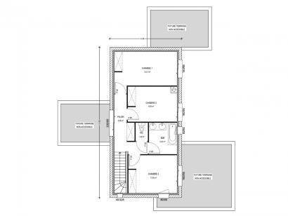 Plan de maison Avant-Projet BEAUREPAIRE - 130 m2 - 4 chambres 4 chambres  : Photo 2