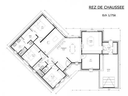 Plan de maison Avant-Projet CHALLANS - 130 m2 - 4 chambres 4 chambres  : Photo 1