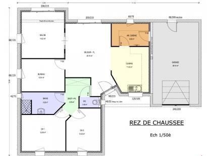 Plan de maison Avant-Projet AIZENAY - 96 m2 - 3 chambres 3 chambres  : Photo 1