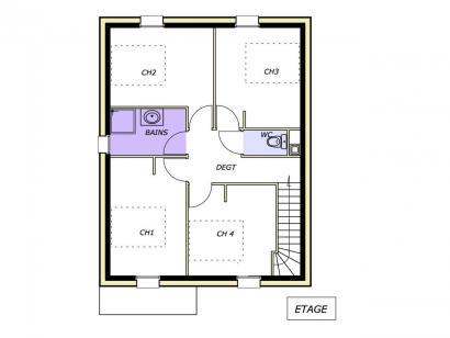 Plan de maison Avant projet AUBIGNY - 100M² - 4 chambres 4 chambres  : Photo 2