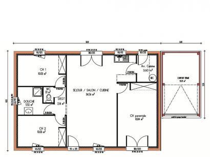 Plan de maison Avant-Projet MONCOUTANT 3 chambres  : Photo 1