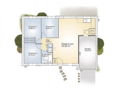 Plan de maison Opale G 73 F Tradition  : Photo 1