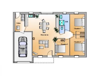 Plan de maison Avant-projet St Etienne Du Bois 3 Chambres 3 chambres  : Photo 1