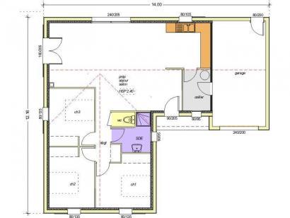 Plan de maison Avant-projet CLISSON - 90 m² - 3 chambres 3 chambres  : Photo 1