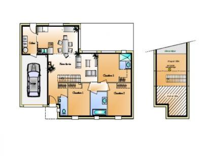 Plan de maison Avant projet Coex - 3 chambre + 1 bureau - 96m² 3 chambres  : Photo 1