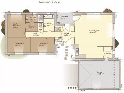Plan de maison La Villa 120 3 chambres  : Photo 1