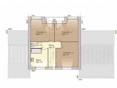 Plan de maison Design 90+27 V2 4 chambres  : Photo 2