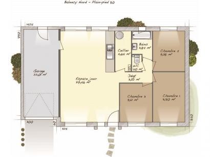 Plan de maison Plain-pied 80 3 chambres  : Photo 1