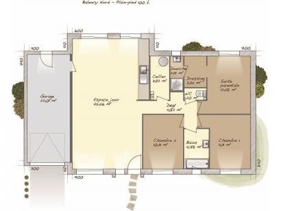 Plan de maison Plain-pied 100L 3 chambres  : Photo 1