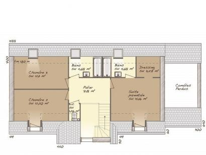 Plan de maison Tradition 125L 4 chambres  : Photo 2