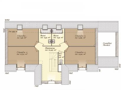 Plan de maison Tradition 145L 5 chambres  : Photo 2