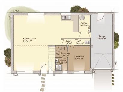 Plan de maison Aménagé 117 4 chambres  : Photo 1