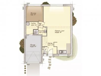 Plan de maison Urbaine GI 9 R + 1 4 chambres  : Photo 1
