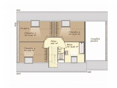 Plan de maison Aménagé 100 4 chambres  : Photo 2