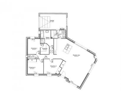 Plan de maison PLP_Y_GI_104m2_3ch_P13844 3 chambres  : Photo 1