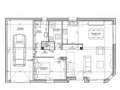 Plan de maison ETG_R_GI_101m2_3ch_P14090 3 chambres  : Photo 1