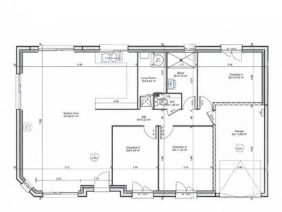 Plan de maison PLP_R_GI_91m2_3ch_P1806 3 chambres  : Photo 1