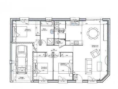 Plan de maison PLP_R_GI_84m2_3ch_P14868 3 chambres  : Photo 3