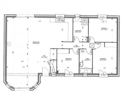 Plan de maison PLP_BW_SG_111m2_3ch_P6176 3 chambres  : Photo 2