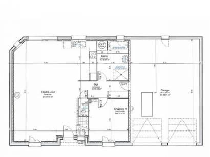 Plan de maison ETG_R_GI_CA_75m2_1ch_P13319 1 chambre  : Photo 2