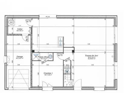 Plan de maison ETG_R_GI_CA_77m2_1ch_P2672 1 chambre  : Photo 2