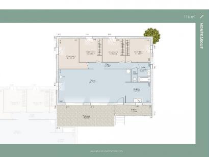 Plan de maison Monegasque 93 3 chambres  : Photo 1