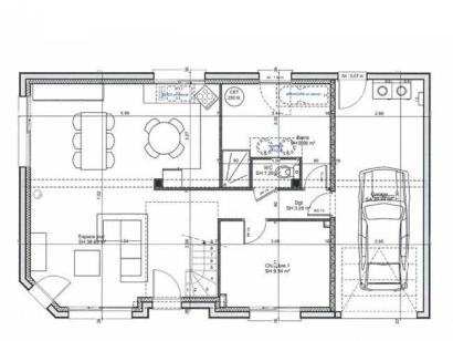 Plan de maison ETG_R_GI_101m2_3ch_P68415 3 chambres  : Photo 1