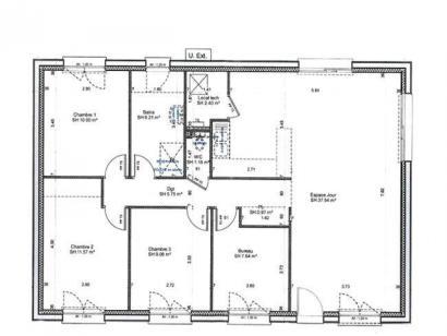 Plan de maison PLP_R_SG_92m2_3ch_P6200 3 chambres  : Photo 1