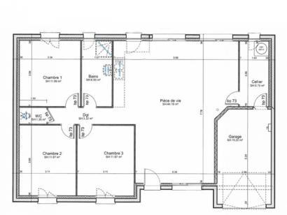 Plan de maison PLP_R_GI_96m2_3ch_P1661 3 chambres  : Photo 1