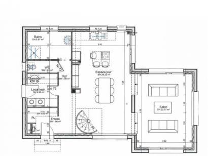 Plan de maison ETG_TT_SG_115m2_3ch_P13942 3 chambres  : Photo 1