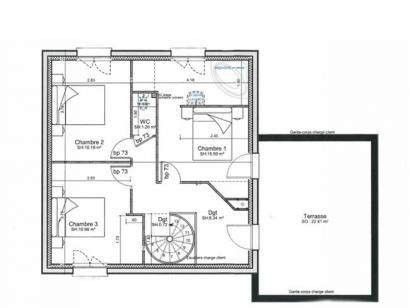 Plan de maison ETG_TT_SG_115m2_3ch_P13942 3 chambres  : Photo 2
