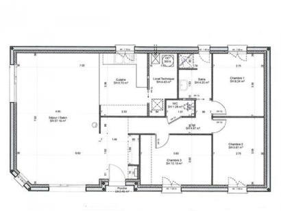 Plan de maison PLP_R_SG_90m2_3ch_P6088 3 chambres  : Photo 1