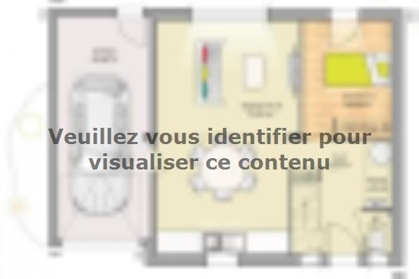 Plan de maison Open Nord CA GA accès Nord 76 so design 3 chambres  : Photo 1