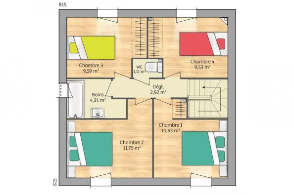 Plan de maison Open Nord ETG GI accès Nord 93 so design 4 chambres  : Photo 2