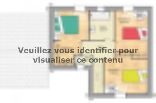 Plan de maison Open Nord ETG L GA accès nord 90 so design 3 chambres  : Photo 2