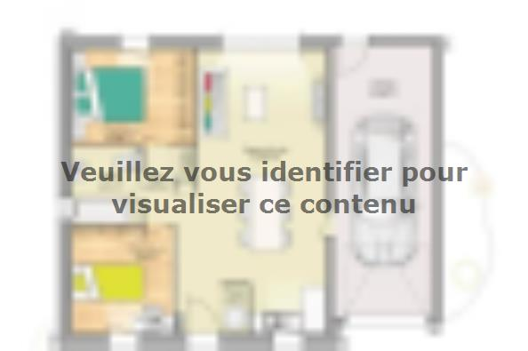 Plan de maison Open Nord PP GA accès Nord 60 so design 2 chambres  : Photo 1