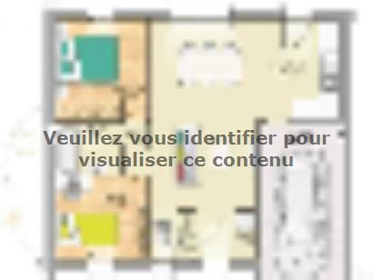 Plan de maison Open Nord PP GI accès Nord 65 so design 2 chambres  : Photo 1