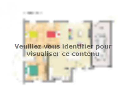 Plan de maison Open Nord PP L GA accès nord 90 so design 3 chambres  : Photo 1