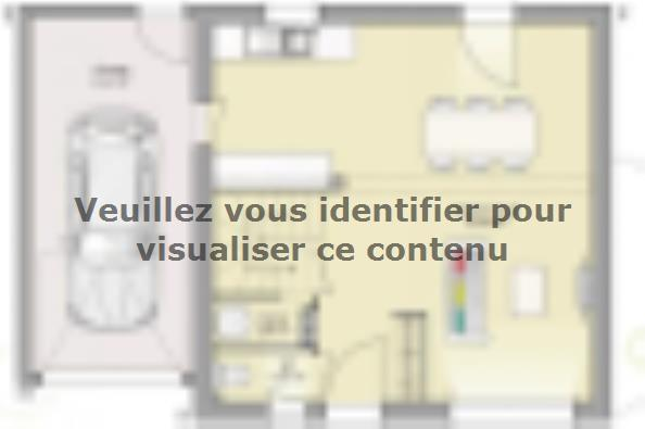 Plan de maison Open Nord ETG GA accès Sud 74 so design 3 chambres  : Photo 1
