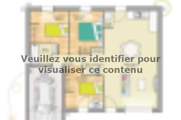 Plan de maison Open Nord PP GI accès Sud 76 so design 3 chambres  : Photo 1