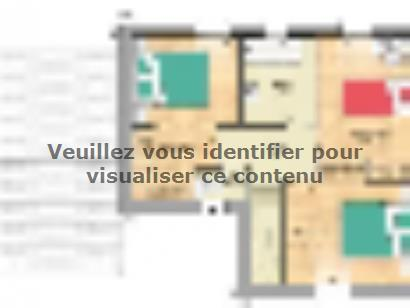 Plan de maison Open Nord ETG L GA accès Sud 90 so design 3 chambres  : Photo 2