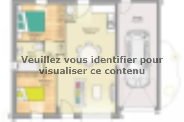 Plan de maison Open Nord PP GA accès Sud 65 so design 2 chambres  : Photo 1