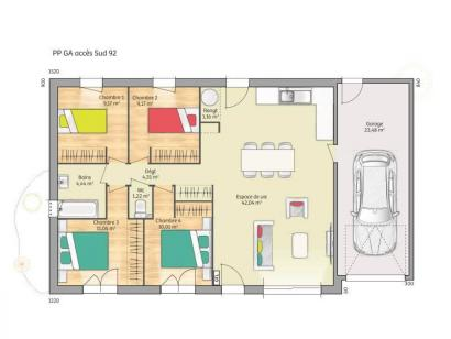 Plan de maison Open Nord PP GA accès Sud 92 so design 4 chambres  : Photo 1