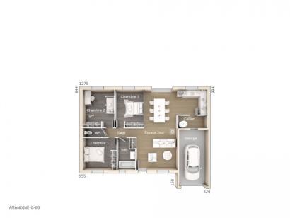 Plan de maison Amandine G 80 Design 3 chambres  : Photo 1