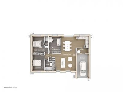 Plan de maison Amandine G 90 Design 3 chambres  : Photo 1