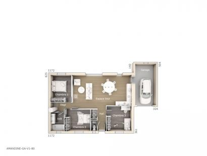 Plan de maison Amandine GA V1 80 Design 3 chambres  : Photo 1