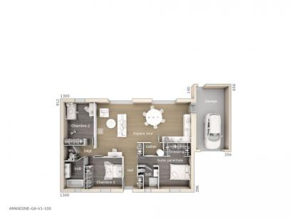 Plan de maison Amandine GA V1 100 Design 3 chambres  : Photo 1