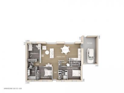 Plan de maison Amandine GA V1 100 Tradition 3 chambres  : Photo 1